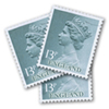 Stamp showing royalty in england wearing diamonds